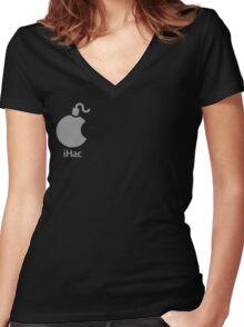 iHac(k) - White Artwork Women's Fitted V-Neck T-Shirt
