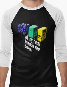 All My Best Friends Are Boxes Men's Baseball ¾ T-Shirt