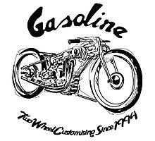 Gasoline Scooters & Motorcycles Line Drawing Photographic Print