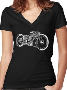 Motorcycle Line Drawing Women's Fitted V-Neck T-Shirt