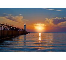 Manistee North Pierhead Lighthouse at Sunset Photographic Print