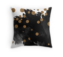 Smudge - Black and Gold Throw Pillow