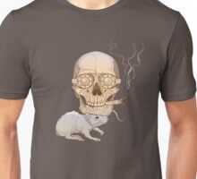 a skull with fuming cigar and a rat Unisex T-Shirt
