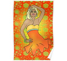 Summer Pinup Cartoon Poster