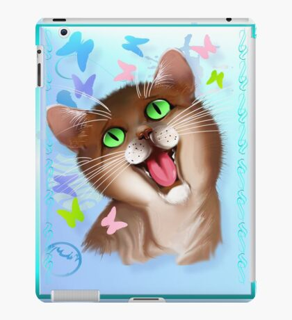 Big Orange Cat and Soft Butterflies iPad Case/Skin