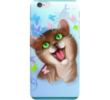 Big Orange Cat and Soft Butterflies iPhone Case/Skin