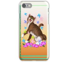 Happy Orange Cat and Soft Butterflies iPhone Case/Skin
