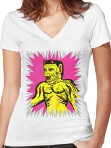 Yellow Devil Women's Fitted V-Neck T-Shirt