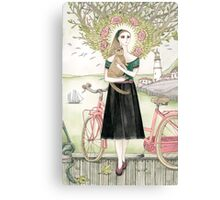Girl and a cat with pink bicycle Canvas Print