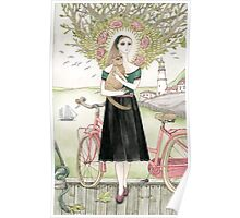 Girl and a cat with pink bicycle Poster