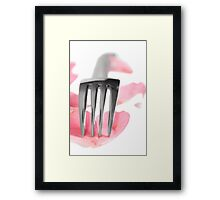 silver service fork isolated with rose petals Framed Print