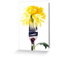 silver fork stuck into dahlia Greeting Card