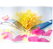 silver knife and fork isolated with dahlia and rose petals Poster