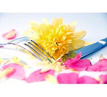 silver knife and fork isolated with dahlia and rose petals Photographic Print