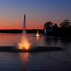Fountains in Milton at Dusk by Debbie  Roberts
