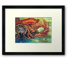 Golden Dragon at the Pond Framed Print