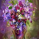 Sweet Peas In Sweet Pea Vase by Carol  Cavalaris