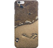 Footprints in the sand on the beach of Cadiz iPhone Case/Skin