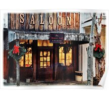 Whiskey Flat Saloon Western Watercolor Poster