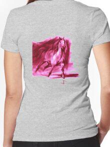 Equine T' Shirt 2 - Running Horse - Pink print  Women's Fitted V-Neck T-Shirt