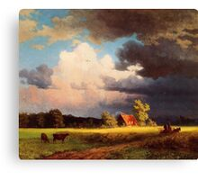 Bierstadt Albert Bavarian Landscape, gorgeous rich color landscape oil painting. Canvas Print