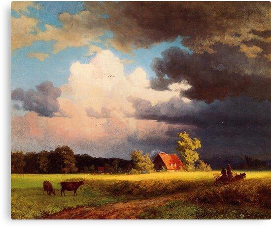 Bierstadt Albert Bavarian Landscape, gorgeous rich color landscape oil painting. by naturematters