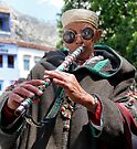 Flute Player Chefchoueon Morocco by Debbie Pinard