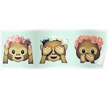 Monkey See No Evil Hipster Flower Crown Emoji Poster