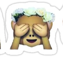 Monkey See No Evil Hipster Flower Crown Emoji Sticker