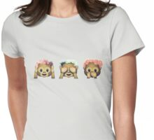 Monkey See No Evil Hipster Flower Crown Emoji Womens Fitted T-Shirt