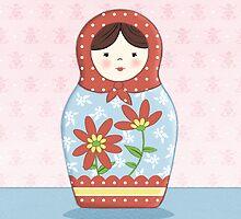 Matryoshka Doll Red & Blue by Amanda Francey