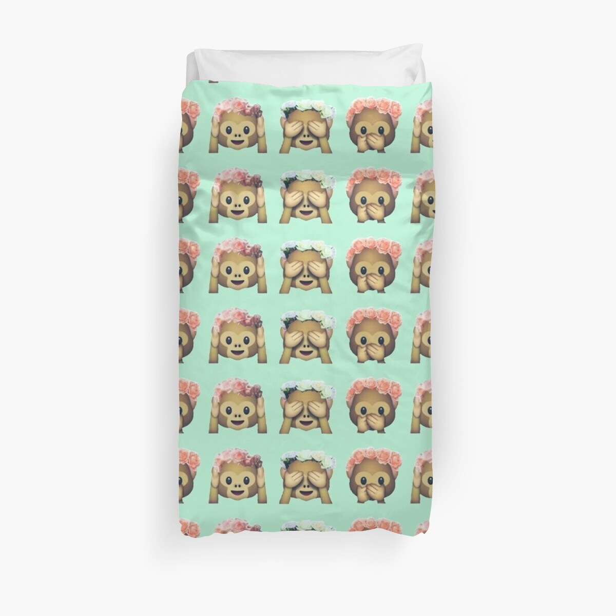 Quot Monkey See No Evil Hipster Flower Crown Emoji Quot Duvet