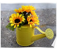 Sunflowers in a watering can Poster