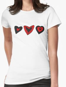Love, Romance, Hearts - Red Black  Womens Fitted T-Shirt