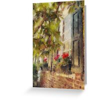 Charleston Brick House with Window Boxes Greeting Card