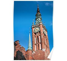 Medieval clock tower. Poster