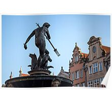God of sea. Neptune statue. Poster