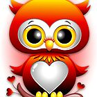 Baby Owl Love Heart Cartoon  by BluedarkArt