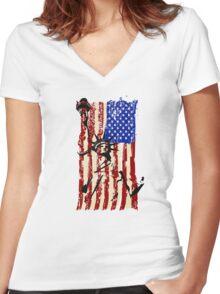 America United Women's Fitted V-Neck T-Shirt
