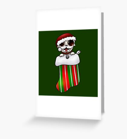 White Christmas Pug Greeting Card