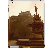 Edinburgh Castle & Fountain - portrait style iPad Case/Skin