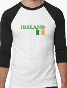 Ireland Vintage Flag St Patricks Day Men's Baseball ¾ T-Shirt