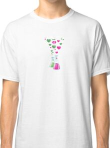 Chemistry Flask, Lab Glassware, Heart - Pink Green Classic T-Shirt