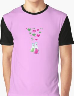 Chemistry Flask, Lab Glassware, Heart - Pink Green Graphic T-Shirt