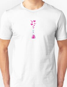 Chemistry Flask, Laboratory Glassware, Pink Hearts  Unisex T-Shirt