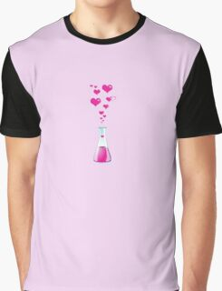 Chemistry Flask, Laboratory Glassware, Pink Hearts  Graphic T-Shirt