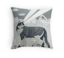Beaming Cat Throw Pillow