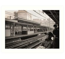 Waiting for the Ginza Train Art Print