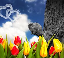 Spring Fever - Squirrel and Tulips by Doreen Erhardt