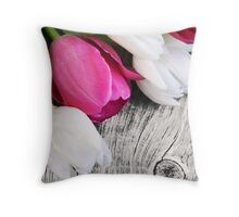 RUSTIC TULIPS Throw Pillow